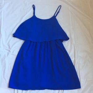 Blue strapless tiered dress